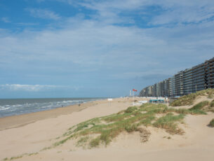 apartment buildings and boulevard on the belgian north sea coast